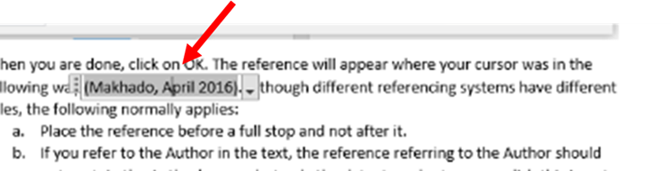 Select Reference in Text