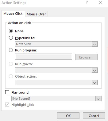 Action Settings are an important step towards an interactive presentation.